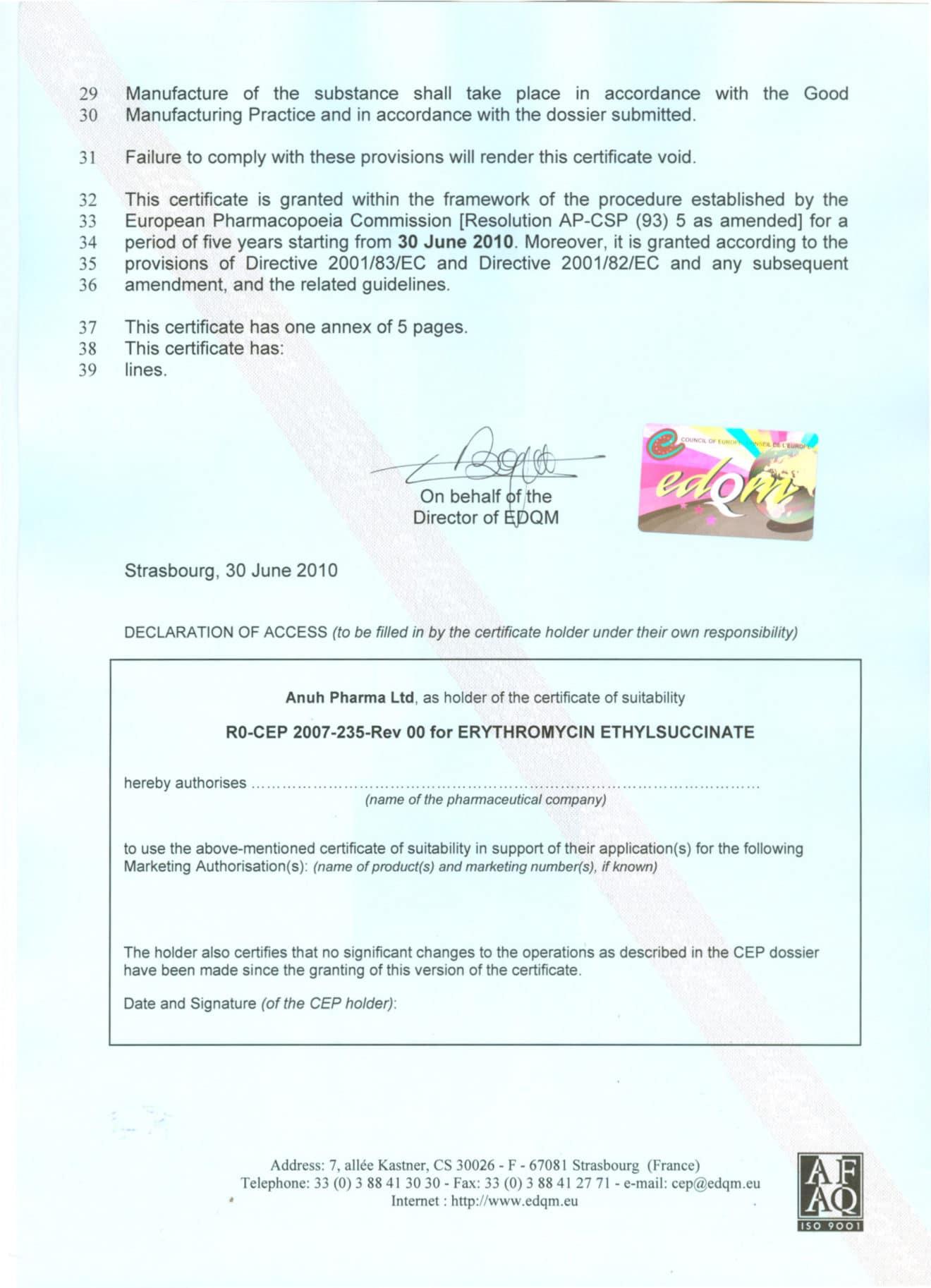 Anuh Pharma European Pharma Commission Certificate