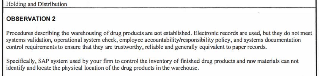 Form 483 Glenmark Pharmaceuticals Pithampur Observation 2 February 2016