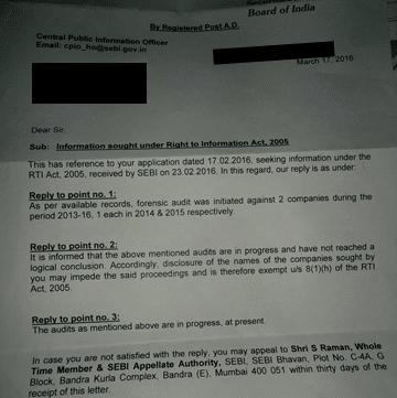 SEBI Letter