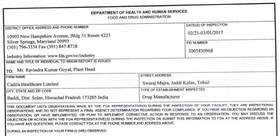 Cadila Healthcare US FDA Inspection of Baddi – Form 483 Revealed ...