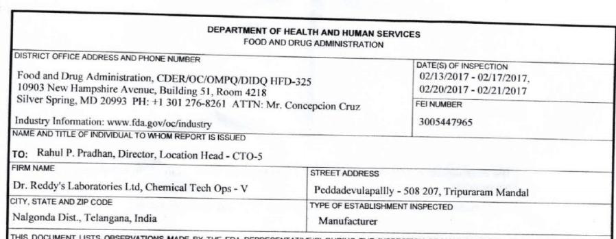 Dr Reddy's Laboratories US FDA Inspection of Miryalaguda - Form ...