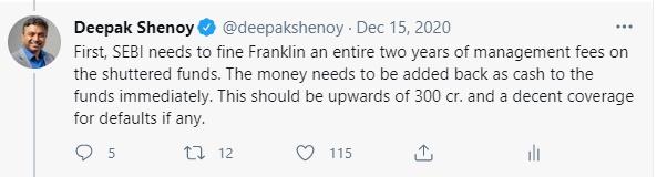 Tweet on Franklin to dock fees